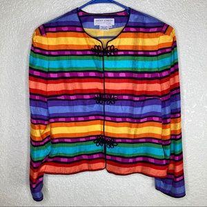 MAGGY LONDON 100% Silk Blazer Rainbow Size 14